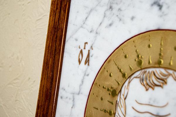 Икона Николая Угодника № 4-21 расписная из мрамора, камня, от Гливи, фото 7