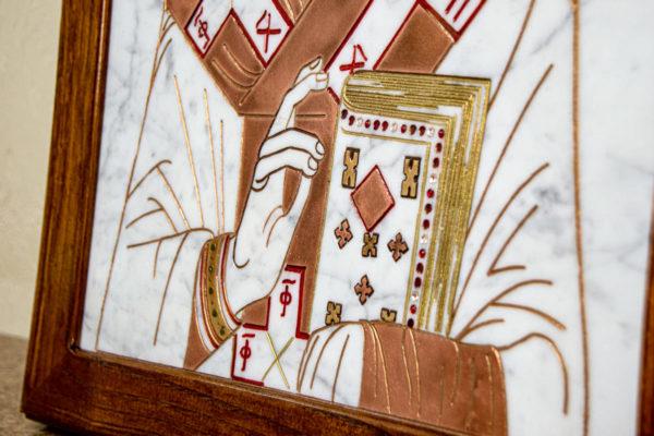 Икона Николая Угодника № 4-21 расписная из мрамора, камня, от Гливи, фото 8