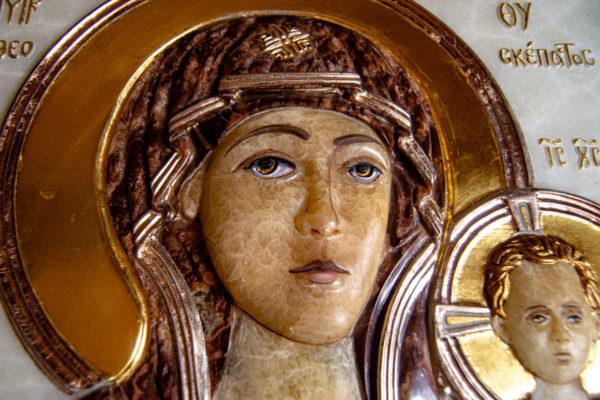 Икона Влахернская Богоматерь № 02 из мрамора, камня, от Гливи, фото 5