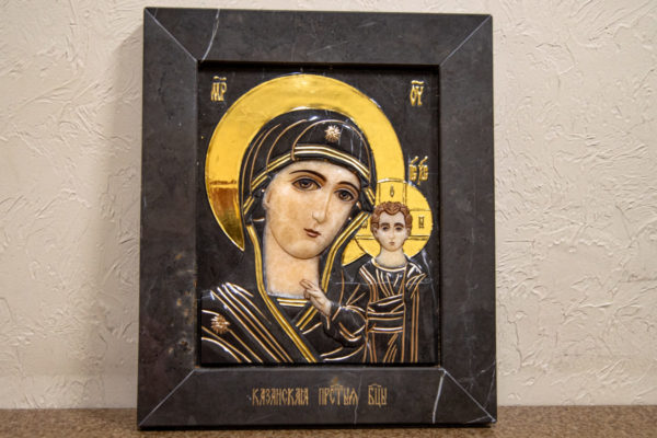 Икона Казанской Божией Матери № 3-12-4 из мрамора, камня, от Гливи, фото 1