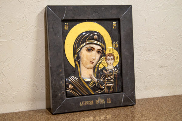 Икона Казанской Божией Матери № 3-12-4 из мрамора, камня, от Гливи, фото 3