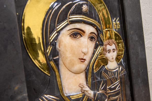 Икона Казанской Божией Матери № 3-12-4 из мрамора, камня, от Гливи, фото 4