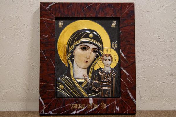 Икона Казанской Божией Матери № 3-12-3 из мрамора, камня, от Гливи, фото 1
