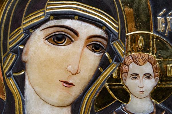 Икона Казанской Божией Матери № 3-12-3 из мрамора, камня, от Гливи, фото 6