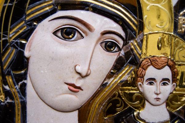 Икона Казанской Божией Матери № 3-12-6 из мрамора, камня, от Гливи, фото 9