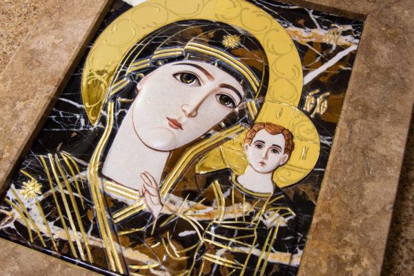 Икона Казанской Божией Матери № 3-12-6 из мрамора, камня, от Гливи, фото 14