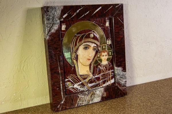 Икона Казанской Божией Матери № 3-12-10 из мрамора, камня, от Гливи, фото 2