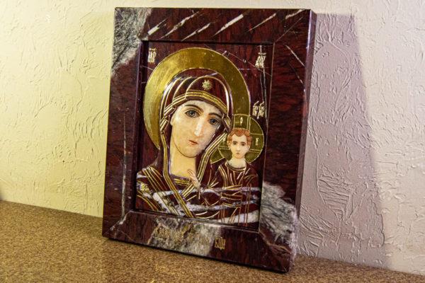 Икона Казанской Божией Матери № 3-12-10 из мрамора, камня, от Гливи, фото 3