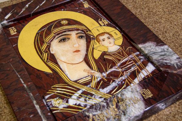 Икона Казанской Божией Матери № 3-12-10 из мрамора, камня, от Гливи, фото 12