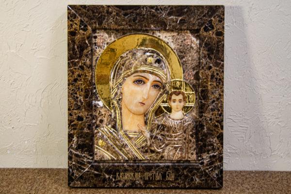 Икона Казанской Божией Матери № 3-12-8 из мрамора, камня, от Гливи, фото 1