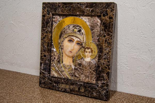 Икона Казанской Божией Матери № 3-12-8 из мрамора, камня, от Гливи, фото 2
