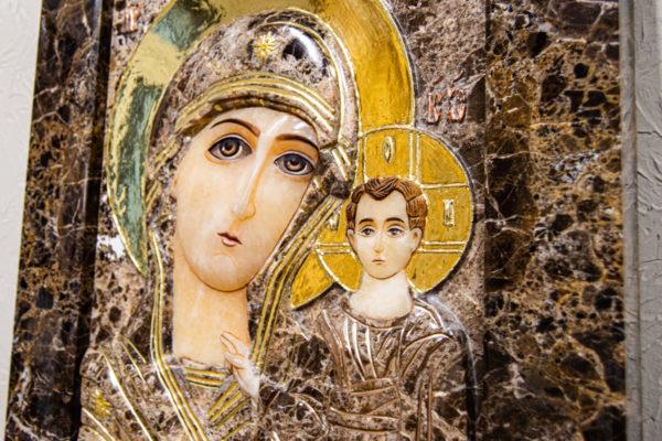 Икона Казанской Божией Матери № 3-12-8 из мрамора, камня, от Гливи, фото 3