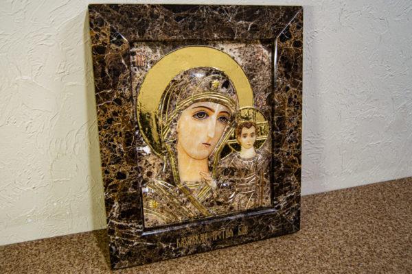Икона Казанской Божией Матери № 3-12-8 из мрамора, камня, от Гливи, фото 5