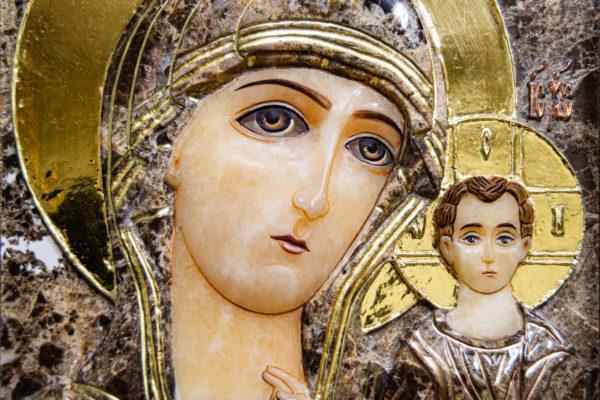 Икона Казанской Божией Матери № 3-12-8 из мрамора, камня, от Гливи, фото 9