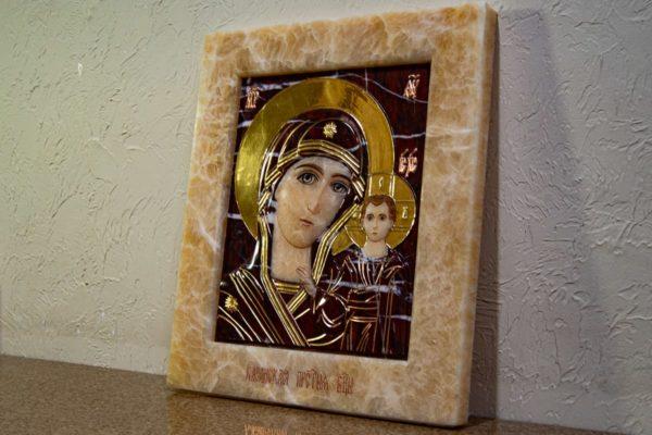 Икона Казанской Божией Матери № 3-12-12 из мрамора, камня, от Гливи, фото 2