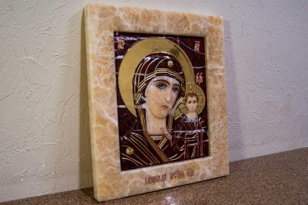 Икона Казанской Божией Матери № 3-12-12 из мрамора, камня, от Гливи, фото 3