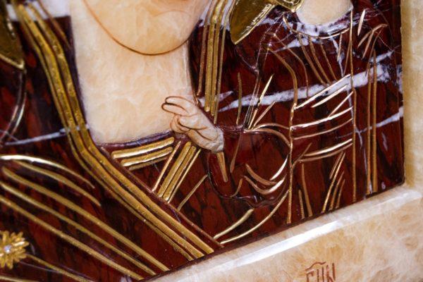 Икона Казанской Божией Матери № 3-12-12 из мрамора, камня, от Гливи, фото 4