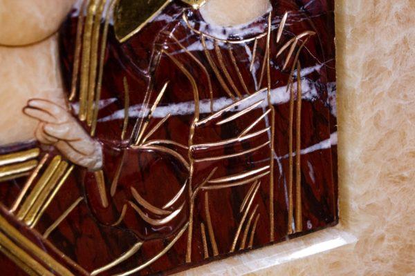 Икона Казанской Божией Матери № 3-12-12 из мрамора, камня, от Гливи, фото 5