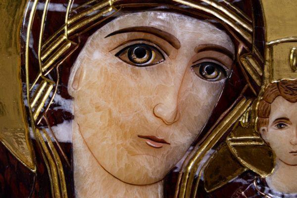Икона Казанской Божией Матери № 3-12-12 из мрамора, камня, от Гливи, фото 6