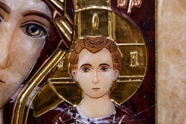Икона Казанской Божией Матери № 3-12-12 из мрамора, камня, от Гливи, фото 7