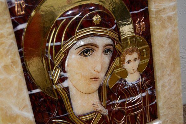 Икона Казанской Божией Матери № 3-12-12 из мрамора, камня, от Гливи, фото 8