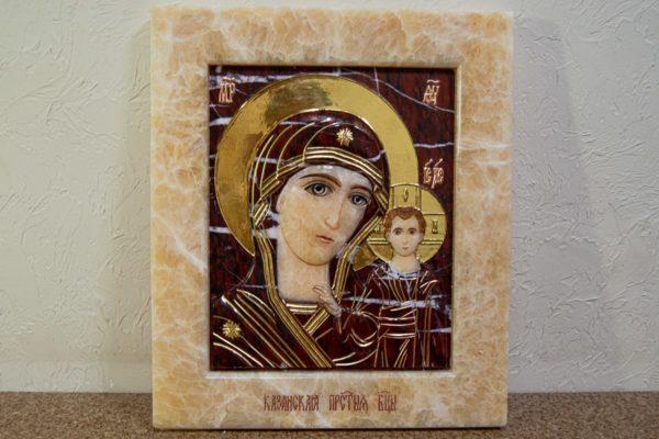 Икона Казанской Божией Матери № 3-12-12 из мрамора, камня, от Гливи, фото 9
