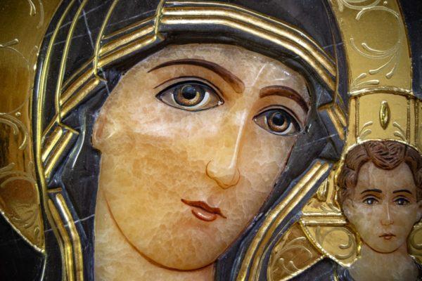 Икона Казанской Божией Матери № 3-12-11 из мрамора, камня, от Гливи, фото 4