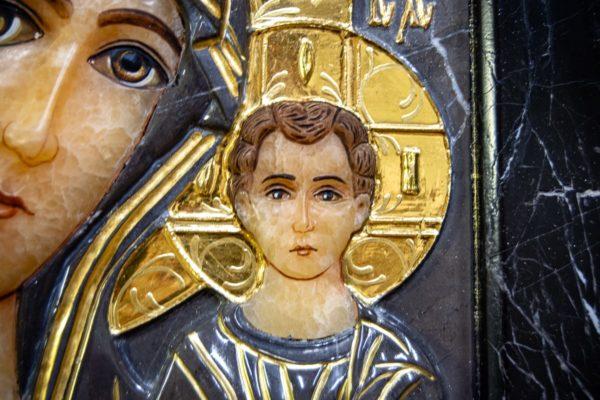 Икона Казанской Божией Матери № 3-12-11 из мрамора, камня, от Гливи, фото 5