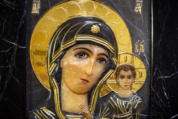 Икона Казанской Божией Матери № 3-12-11 из мрамора, камня, от Гливи, фото 6