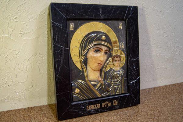 Икона Казанской Божией Матери № 3-12-11 из мрамора, камня, от Гливи, фото 7