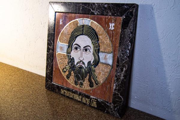 Икона Спас Нерукотворный № 1-12-9 из камня, Гливи, фото 9