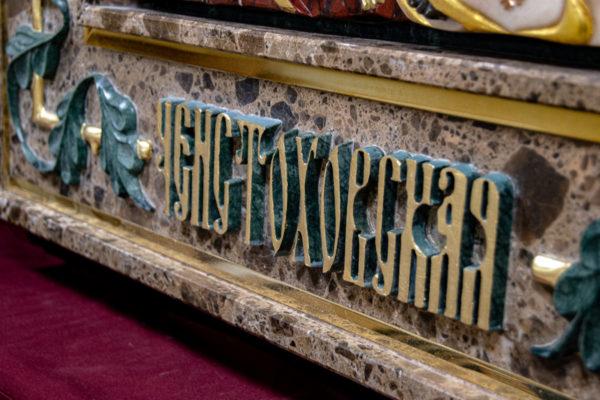 Ченстоховская икона (рельефная, храмовая) не номерная из камня, Гливи, фото 9