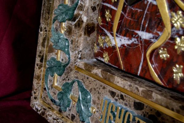Ченстоховская икона (рельефная, храмовая) не номерная из камня, Гливи, фото 16