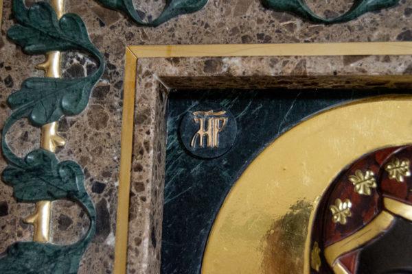 Ченстоховская икона (рельефная, храмовая) не номерная из камня, Гливи, фото 18