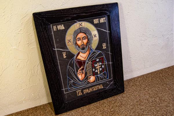 Икона Господа Вседержителя № 3-01 (Пантократор) из камня, Гливи, фото 2