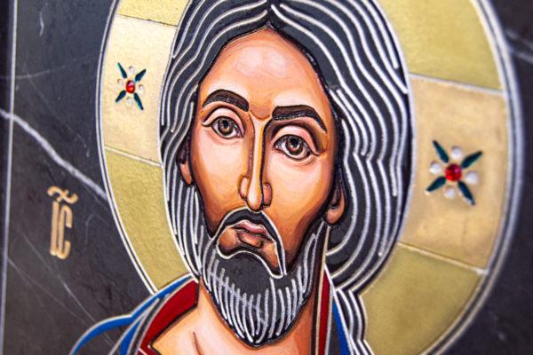 Икона Господа Вседержителя № 3-01 (Пантократор) из камня, Гливи, фото 6