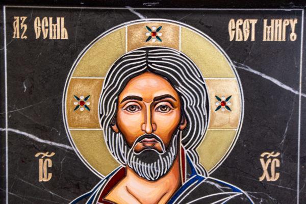 Икона Господа Вседержителя № 3-01 (Пантократор) из камня, Гливи, фото 10