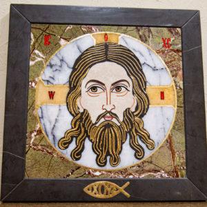 Икона Спас Нерукотворный № 1-12-1 из камня, Гливи, фото 1