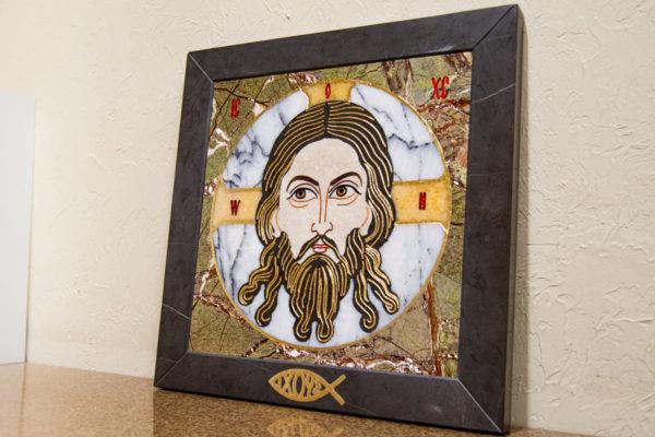 Икона Спас Нерукотворный № 1-12-1 из камня, Гливи, фото 2