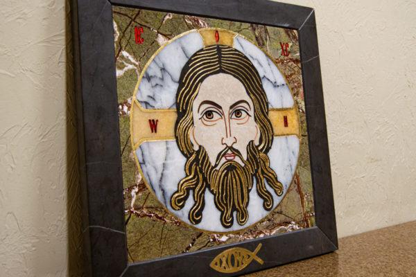 Икона Спас Нерукотворный № 1-12-1 из камня, Гливи, фото 3