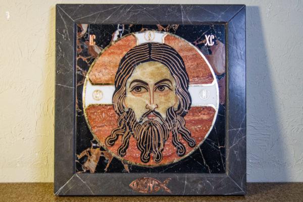 Икона Спас Нерукотворный № 1-12-7 из камня, Гливи, фото 1