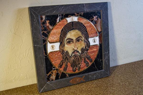Икона Спас Нерукотворный № 1-12-7 из камня, Гливи, фото 3