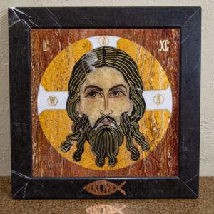 Икона Спас Нерукотворный № 1-12-2 из камня, Гливи, фото 1