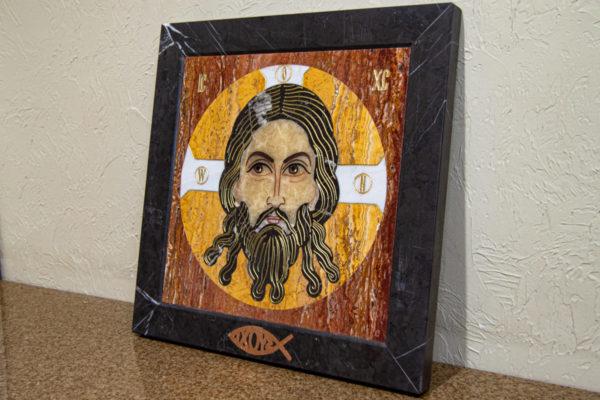 Икона Спас Нерукотворный № 1-12-2 из камня, Гливи, фото 2