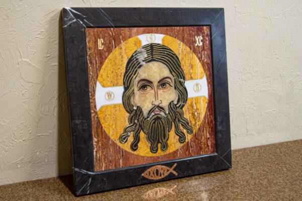 Икона Спас Нерукотворный № 1-12-2 из камня, Гливи, фото 3
