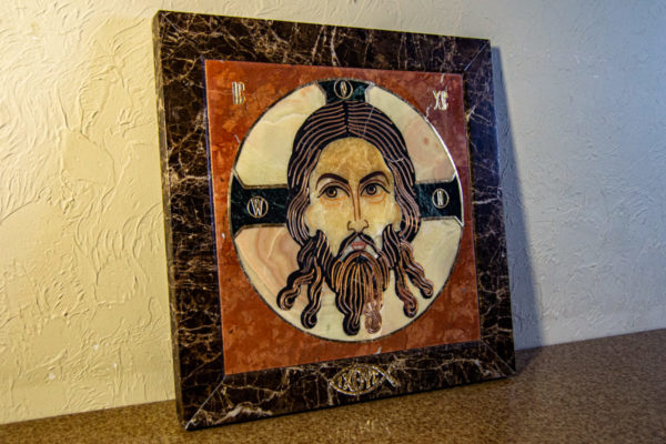 Икона Спас Нерукотворный № 1-12-6 из камня, Гливи, фото 1