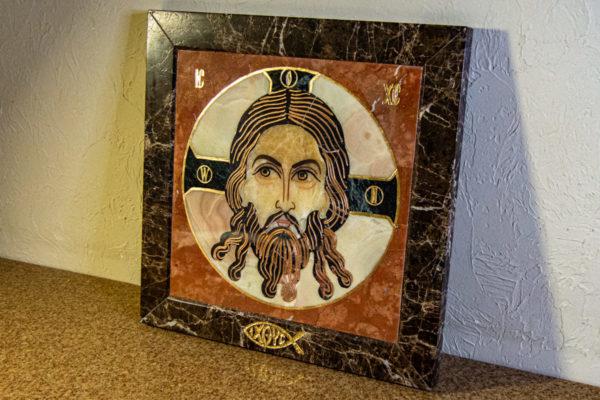 Икона Спас Нерукотворный № 1-12-6 из камня, Гливи, фото 3