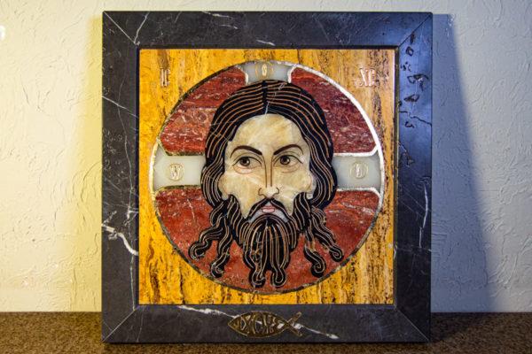 Икона Спас Нерукотворный № 1-12-3 из камня, Гливи, фото 1