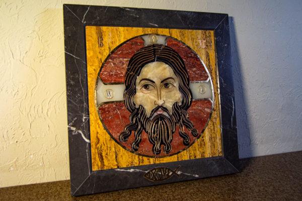 Икона Спас Нерукотворный № 1-12-3 из камня, Гливи, фото 2