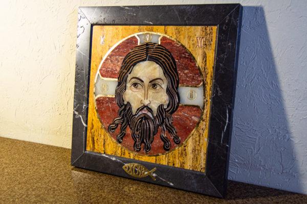 Икона Спас Нерукотворный № 1-12-3 из камня, Гливи, фото 3